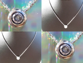".35CT Round Brilliant Bezel Pendant G/SI2 in 14kt White Gold 16"" Necklace $495"