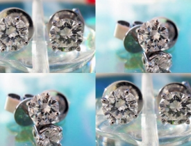 3/4CT Round Brilliant Diamond Earrings F-G Color VS clarity 14kt White Gold $750