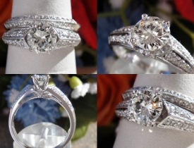 0.95CT Round Brilliant Diamond Engagement Ring Set Certified and Appraised at $5,500 Price: $1,995