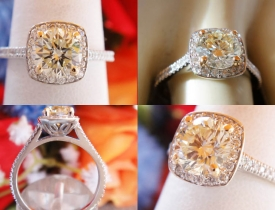 1.12CT Yellow Round Brilliant Diamond Engagement Ring Certified and Appraised at $6,400 Price: $2,250