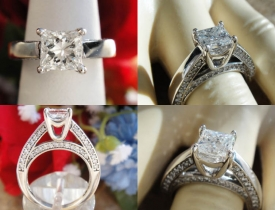 1.10CT Princess Diamond Engagement Ring Certified and Appraised at $6,000 Price: $2,250