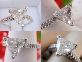 1.22CT Trillion Diamond Engagement Ring EGL USA Certified and Appraised at $11,000 Price: $2995