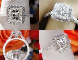 1.04CT Leo Princess Diamond Platinum Halo Engagement Ring IGI Certified and Appraised at $6,100 Price: $2,995