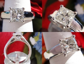 1.0CT Princess Diamond Platinum Engagement Ring GIA Lab Certified and Appraised at $8,500 Price: $3,750