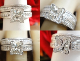 1.28ct Princess Diamond Pave Milgrain Engagement Ring/Band Certified and Appraised at $9,500 Price: $3,250