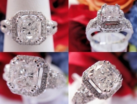 1.36CT Cushion Diamond Pave Engagement Ring EGL Certified and Appraised at $10,000 Price: $3,995