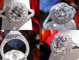 1.20CT Round Brilliant Diamond Halo Engagement Ring Certified and Appraised at $12,300 Price: $3,995