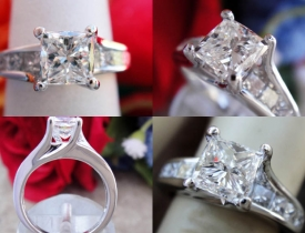 1.55CT Princess Diamond Engagement Ring IGI Certified and Appraised at $10,000 Price: $3,250