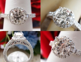 1.28CT Round Diamond Halo Pave Engagement Ring EGL USA Certified and Appraised at $11,400 Price: $4,495