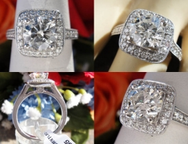 1.41CT Round Brilliant Pave Halo Engagement Ring EGL USA Certified and Appraised at $12,000 Price: $4,995