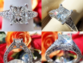 1.93CT Princess Diamond Ritani Engagement Ring Certified and Appraised at $14,000 Price: $6,995