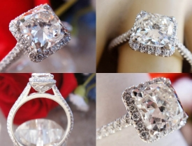 1.33CT Cushion Diamond Halo Platinum Engagement Ring GIA Lab Certified and Appraised at $9,550 Price: $4,400