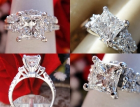 1.61CT Princess Diamond Engagement Ring Set GIA Lab Certified and Appraised at $13,500 Price: $4,995