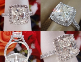 "1.65CT Princess Diamond ""Flush Fit"" Halo Engagement Ring Certified and Appraised at $14,500 Price: $6,995"