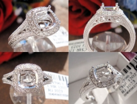 0.19CT 14KT White Gold Milgraine Pave Mount Engagement Ring $695‏