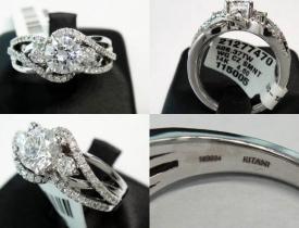 0.37CT 14kt White Gold Ritani Designer Pave Engagement Ring (closeout) $1495