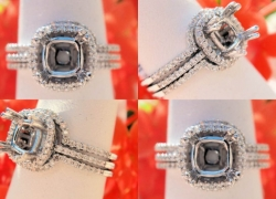 0.38CT 14kt White Gold Pave Style Setting with 2 Matching Bands Price: $995