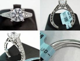 0.38CT 18kt White Gold Ritani Designer Pave Engagement Ring $1495