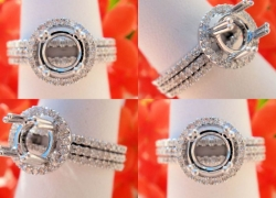 0.52CT 14kt White Gold Pave Style Setting with 2 Matching Bands Price: $995