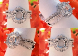 0.58CT 14kt White Gold Pave Style Setting & Band Set Price: $995