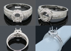 0.67CT 14kt White Gold Round 7mm Solid 14Kt Gold Diamond Engagement Mount Ring Price: $895