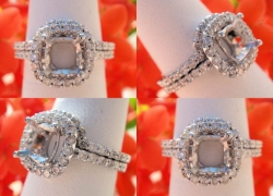 0.74CT 14kt White Gold Pave Style Setting with Matching Band Price: $1,495