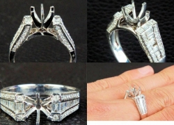 0.87CT 14kt White Gold Catherdral Pave Style Engagement Ring Price: $1,195