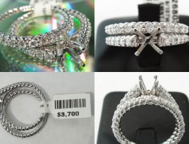 0.90CT Diamond Engagement Ring and Matching Band with Rope Effect (closeout) $1695