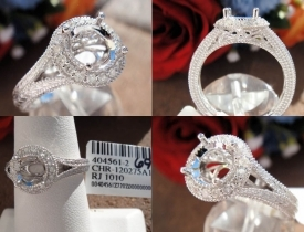 0.19CT 14KT White Gold Milgraine Pave Mount Round Engagement Ring $695‏