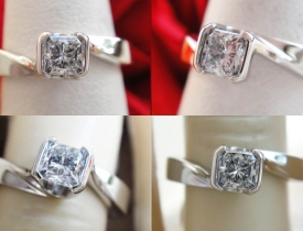 1/3CT Princess Diamond Engagement Ring GIA Lab Cert E/VVS2 $650