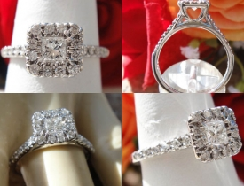 0.80CT Princess Diamond Halo Pave Engagement Ring Price: $750
