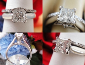0.82CT Princess Diamond Engagement Ring with Matching Band Certified and Appraised at $4,378 Price: $1,995