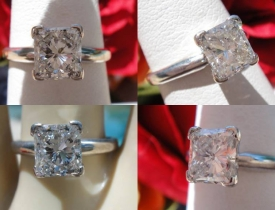 1.01CT Princess Solitaire Diamond Engagement Ring Certified and Appraised at $8,300 Price: $3,995