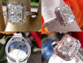 1.18CT Radiant Diamond Halo Engagement Ring GIA Lab Certified and Appraised at $8,750 Price: $3,995