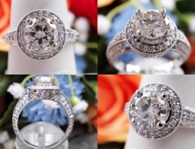 1.21CT Round Brilliant Halo Pave Engagement Ring Certified and Appraised at $10,500 Price: $3,750