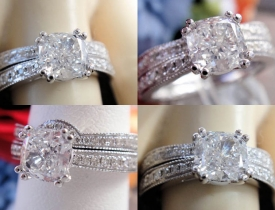 1.35CT Cushion Diamond Pave Engagement Ring/Band GIA Lab Cert/Appr $8K Price: $3995