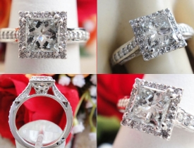 1.40CT Princess Halo Diamond Engagement Ring Certified and Appraised at $8,595 Price: $3,495