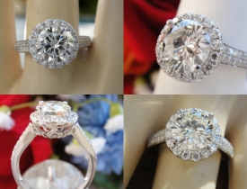 1.92CT Round Brilliant Halo Pave Diamond Engagement Ring Certified and Appraised at $16,800 Price: $7,495 (PRICE CUT FROM $7,995)