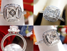 1.13CT Radiant Diamond Ritani Engagement Ring IGI Certified and Appraised at $6,800 Price: $3,250