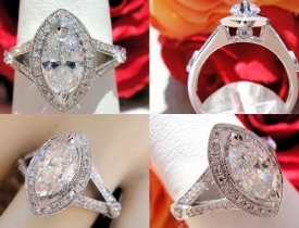 1.31ct Marquise Halo Diamond Engagement Ring GIA Certified and Appraised at $6,850 Price: $2,995