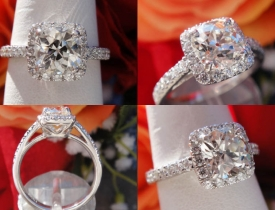 1.36CT Euro Cushion Diamond Halo Engagement Ring Certified and Appraised at $8,100 Price: $3,750