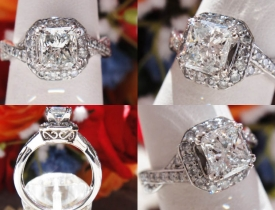 1.38CT Radiant Diamond Halo Engagement Ring IGI Certified and Appraised at $5,600 Price: $2,495