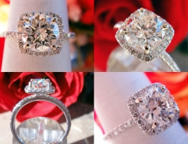 1.46CT Round Brilliant H/VS1 Diamond Odiela Halo Engagement Ring Certified and Appraised at $16,700 Price: $6,500