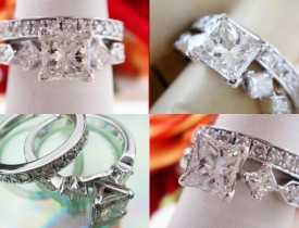 2.39CT Princess Diamond Engagement Ring Set Certified and Appraised at $10,600 Price: $3,250