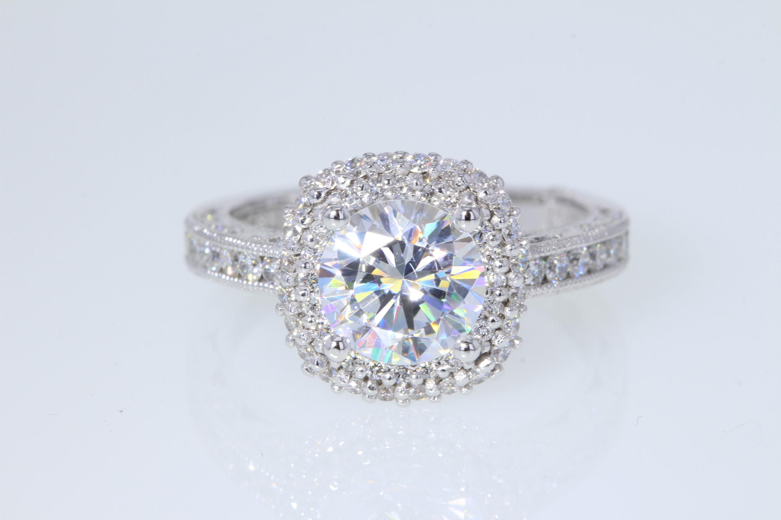 tacori double row cushion halo diamond engagement ring. Black Bedroom Furniture Sets. Home Design Ideas